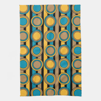 Turquoise, yellow and brown retro circle stripes kitchen towel