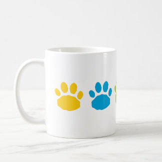 Turquoise, Yellow, and Green Paw Prints Coffee Mug