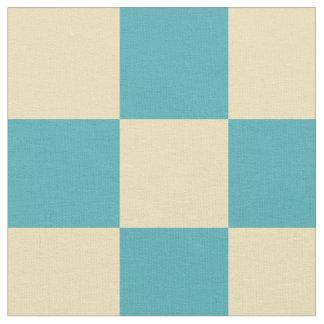 Turquoise yellow checkered fabric