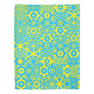 Turquoise yellow geometric 4Liana Duvet Cover