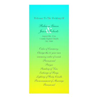 turquoise yellow green ombre wedding programs rack cards
