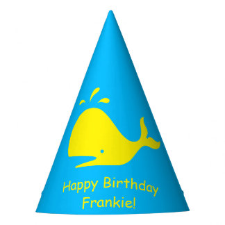 Turquoise Yellow Whale 4Frankie (Name) Party Hat