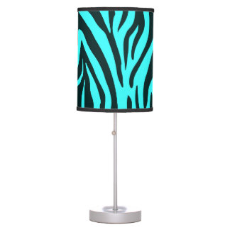 Turquoise zebra animal print pattern table lamp