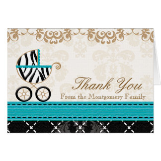 Turquoise Zebra Baby Carriage Shower Thank You Card