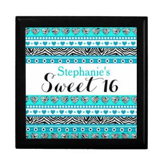 Turquoise zebra heart Sweet 16 Gift Box
