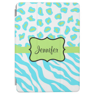 Turquoise Zebra Leopard Skin Name Personalized iPad Air Cover