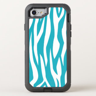 Turquoise Zebra Print OtterBox Defender iPhone 7 Case