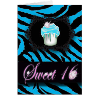 Turquoise Zebra print Sweet 16 Card