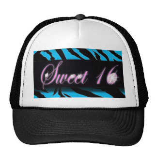 Turquoise Zebra print Sweet 16 Mesh Hat