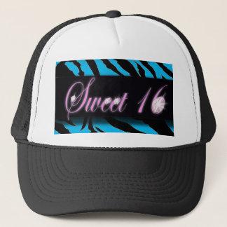 Turquoise Zebra print Sweet 16 Trucker Hat