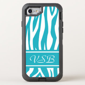 Turquoise Zebra Print with monogram OtterBox Defender iPhone 7 Case