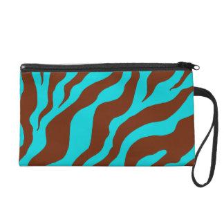 Turquoise Zebra Print Wristlet Bag