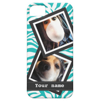 Turquoise Zebra with  2 Square Instagram Photos Case For The iPhone 5
