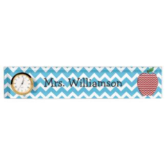 Turquoise Zigzag Apple Teacher Nameplate