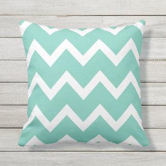 Turquoise Zigzag Chevron Pattern Outdoor Pillows