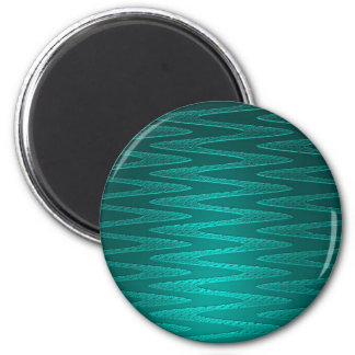 Turquoise Zigzag Pattern 2 Inch Round Magnet
