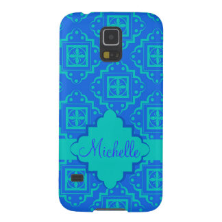 Turquosie Blue Arabesque Moroccan Custom Name Galaxy S5 Case