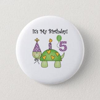 Turtle 5th Birthday 2 Inch Round Button