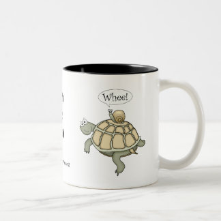 Turtle and snail.  Whee! Two-Tone Coffee Mug
