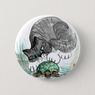 Turtle and Tiger Kitten 2 Inch Round Button