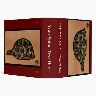 Turtle - Antiquarian, Colorful Book Illustration 3 Ring Binders