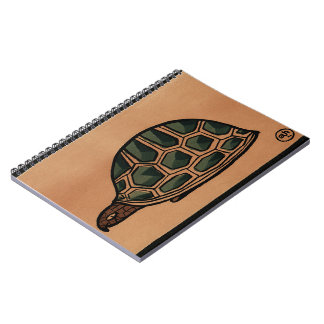 Turtle - Antiquarian Colorful Book Illustration Spiral Note Books