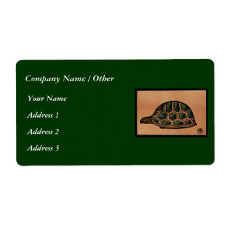 Turtle - Antiquarian, Colorful Book Illustration Shipping Label