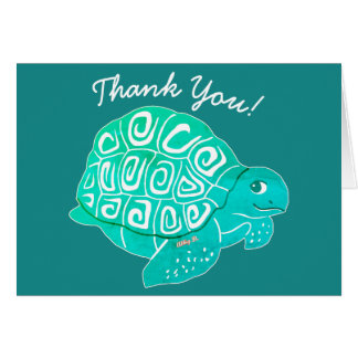 Turtle Art Aqua & Green Thank You Greeting Card