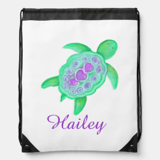 Turtle art kids name green purple drawstring bag