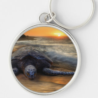 Turtle at Sunset Silver-Colored Round Keychain
