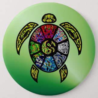 Turtle Ba-Gua 6 Inch Round Button