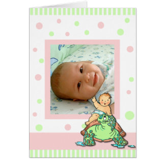 Turtle Baby Girl Birth Announcement Card
