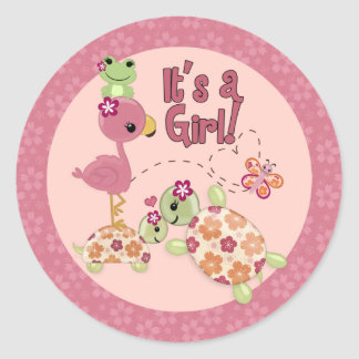 TURTLE Baby Shower Once Upon a Pond round sticker
