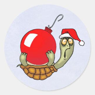 Turtle Ball Christmas Classic Round Sticker