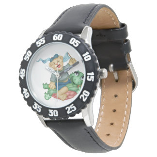 TURTLE BEAR CARTOON Bezel with Black Numbers Wristwatches