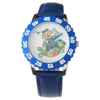 TURTLE BEAR CARTOON Bezel with Blue Numbers Watch