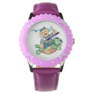 TURTLE BEAR CARTOON Bezel with Purple Ribbons Wristwatch