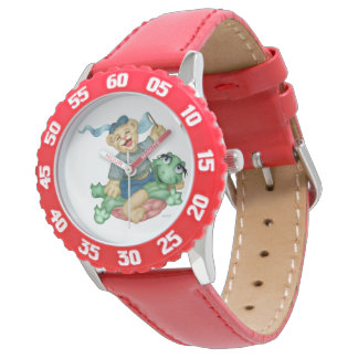 TURTLE BEAR CARTOON Bezel with Red Numbers Watch
