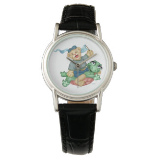 TURTLE BEAR CARTOON Classic Black Leather Watch