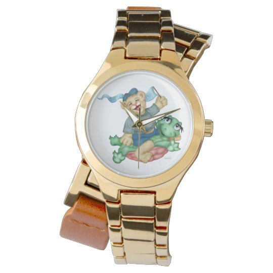 TURTLE BEAR CARTOON Gold Wrap-Around Watch