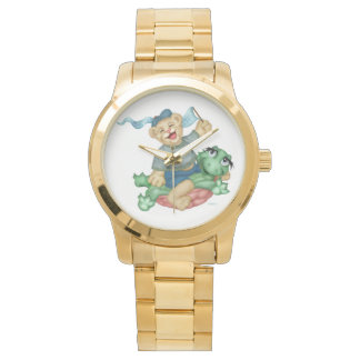 TURTLE BEAR CARTOON Oversized Gold Bracelet Watch