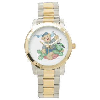 TURTLE BEAR CARTOON Oversized Two-Tone Bracelet Watch