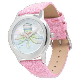 TURTLE BEAR CARTOON Pink Glitter Wristwatch