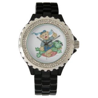 TURTLE BEAR CARTOON  Rhinestone Black Enamel Watch