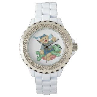 TURTLE BEAR CARTOON  Rhinestone White Enamel Watch
