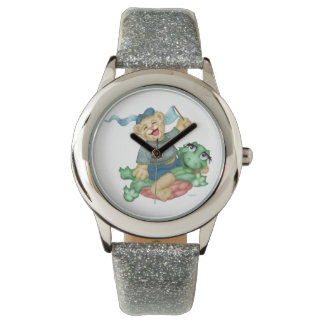TURTLE BEAR CARTOON Silver Glitter Watch