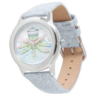 TURTLE BEAR CARTOON Silver Glitter Wrist Watch