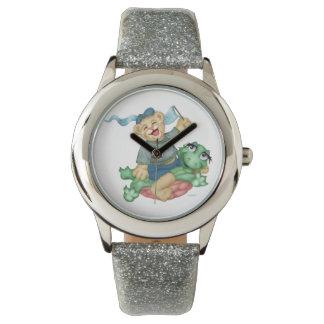TURTLE BEAR CARTOON Silver Glitter Wristwatch