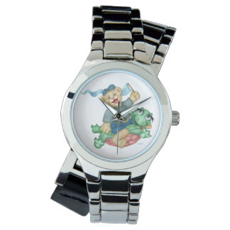 TURTLE BEAR CARTOON Silver Wrap-Around Watch