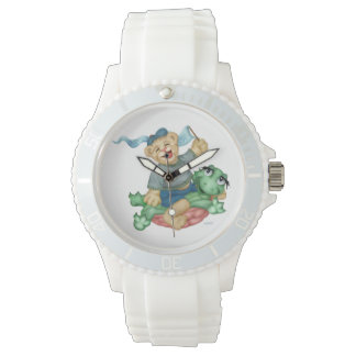 TURTLE BEAR CARTOON Sporty White Silicon Watch